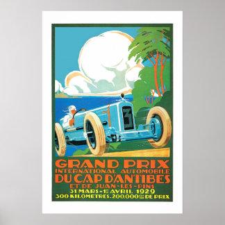 ヴィンテージの1929年のグランプリのモータースポーツのフランスのな広告 ポスター