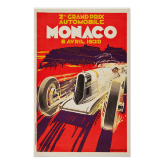 ヴィンテージの1930年のモナコグランプリポスター ポスター