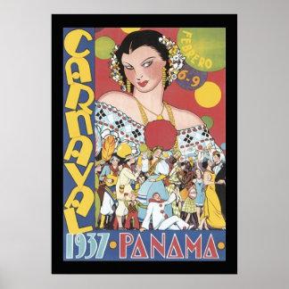 ヴィンテージの1937年のパナマCarnaval女性 ポスター