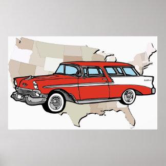 ヴィンテージの1957年のChevyの遊牧民クラシックな車ポスター ポスター