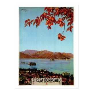 ヴィンテージの20年代湖のMaggiore Stresaのイタリアンな旅行 ポストカード