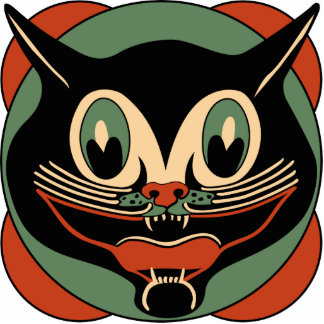 ヴィンテージの30年代のアール・デコハロウィン猫のオーナメント 写真彫刻オーナメント