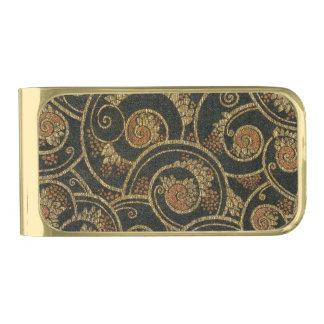 ヴィンテージの40年代のフランスのな織物のマネークリップ ゴールド マネークリップ