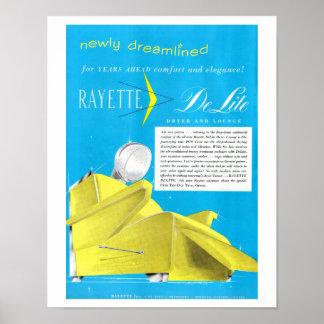ヴィンテージの50年代のRayetteのヘアードライヤーの美容室の芸術 ポスター