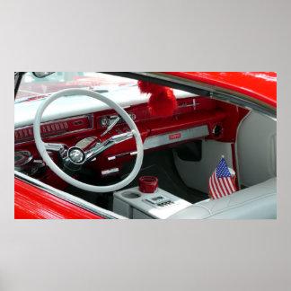 ヴィンテージの60年代車のインテリア ポスター