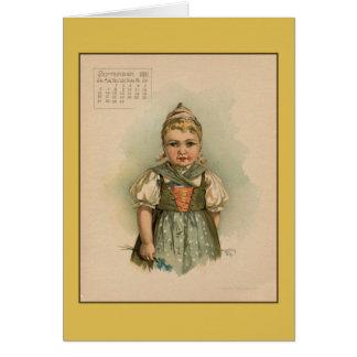 ヴィンテージの9月1891日の美しい子供の引くこと カード