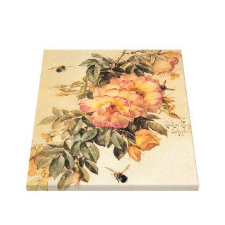 ヴィンテージの`のバラおよび《昆虫》マルハナバチ キャンバスプリント