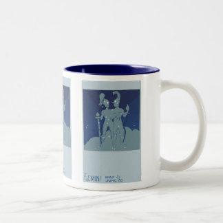 ヴィンテージの(占星術の)十二宮図の占星術のジェミニ対の星座 ツートーンマグカップ