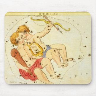 ヴィンテージの(占星術の)十二宮図の占星術のジェミニ対の星座 マウスパッド