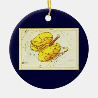 ヴィンテージの(占星術の)十二宮図の占星術の天秤座のスケールの星座 陶器製丸型オーナメント