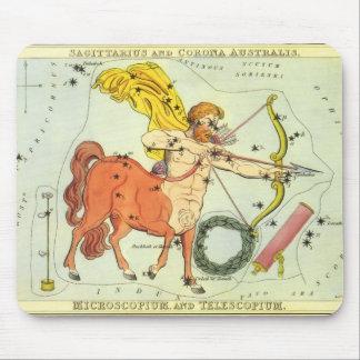 ヴィンテージの(占星術の)十二宮図の占星術の射手座の星座 マウスパッド
