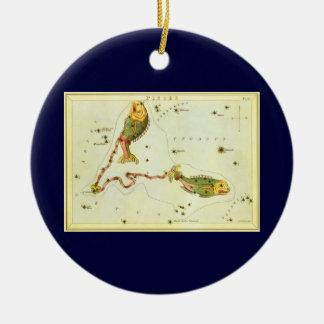 ヴィンテージの(占星術の)十二宮図の占星術の魚類の魚の星座 セラミックオーナメント