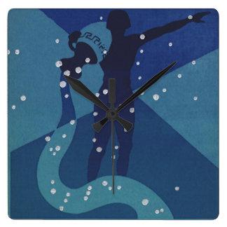 ヴィンテージの(占星術の)十二宮図の占星術、アクエリアスの星座 スクエア壁時計