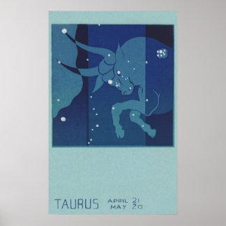 ヴィンテージの(占星術の)十二宮図の占星術、トーラスの星座 ポスター