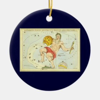 ヴィンテージの(占星術の)十二宮図、占星術のアクエリアスの星座 セラミックオーナメント