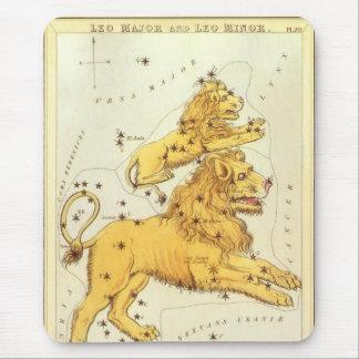 ヴィンテージの(占星術の)十二宮図、占星術のレオのライオンの星座 マウスパッド