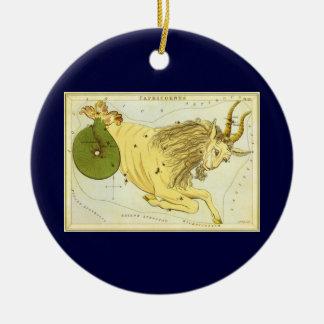 ヴィンテージの(占星術の)十二宮図、占星術の山羊座の星座 陶器製丸型オーナメント