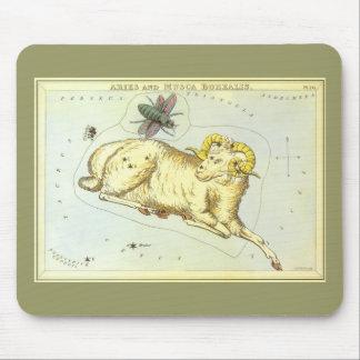 ヴィンテージの(占星術の)十二宮図、占星術の牡羊座のラムの星座 マウスパッド