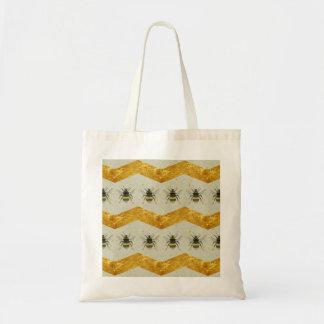 ヴィンテージの《昆虫》マルハナバチ及び金ゴールドのシェブロンのバッグ トートバッグ