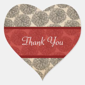 ヴィンテージの《植物》百日草は赤いステッカー感謝していしています ハートシール