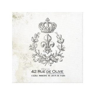 ヴィンテージの(紋章の)フラ・ダ・リおよび王冠によって伸ばされるキャンバス キャンバスプリント