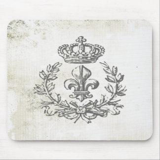 ヴィンテージの(紋章の)フラ・ダ・リおよび王冠マウスのパッド マウスパッド