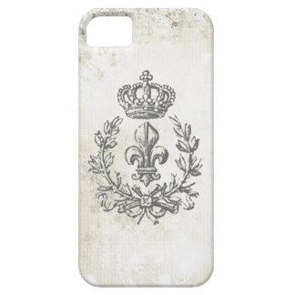 ヴィンテージの(紋章の)フラ・ダ・リおよび王冠iphone 5の場合 iPhone SE/5/5s ケース