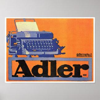 ヴィンテージのAdlerのタイプライターの広告 ポスター