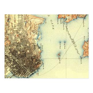 ヴィンテージのAlcatrazサンフランシスコの地図の郵便はがき ポストカード