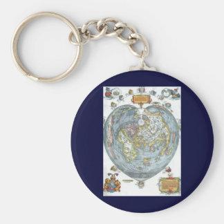 ヴィンテージのApianハート形の旧式な世界地図ピーター キーホルダー