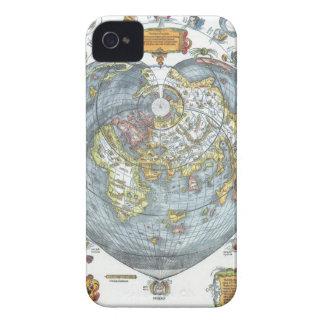 ヴィンテージのApianハート形の旧式な世界地図ピーター Case-Mate iPhone 4 ケース