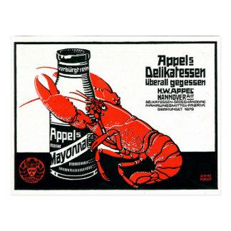 ヴィンテージのAppelのマヨネーズ広告ロブスター ポストカード