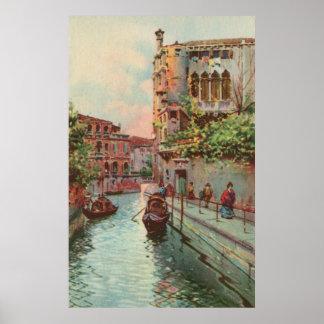 ヴィンテージのaquarelleのベニスリオMaravegie運河Poste ポスター