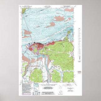ヴィンテージのAstoriaオレゴンの地形図 ポスター