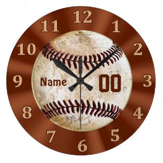 ヴィンテージのBaskeballの時計ジャージーあなたの名前及び数 ラージ壁時計
