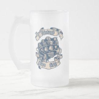 ヴィンテージのBroの握りこぶしのマグ フロストグラスビールジョッキ
