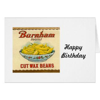 ヴィンテージのBurnhamのブランドの切口のインゲン豆のラベル カード
