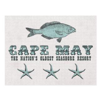 ヴィンテージのCape May NJの最も古い海岸リゾートのビーチ ポストカード