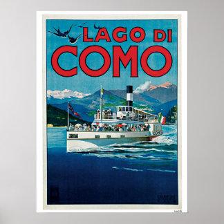 ヴィンテージのComo湖イタリアンな旅行広告 ポスター