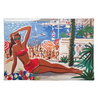 ヴィンテージのCote d'Azurのビーチの女の子 ランチョンマット