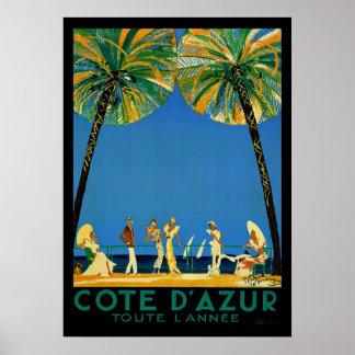 ヴィンテージのCote d'Azur Toute Lanneeのフランス人旅行 ポスター