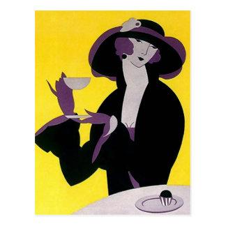 ヴィンテージのDecoの茶高い午後のパーティーの郵便はがきのPC ポストカード