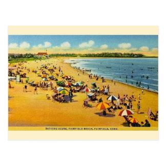 ヴィンテージのFairfieldのビーチのコネチカットの郵便はがき ポストカード