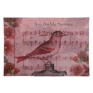 ヴィンテージのHollyhockの歌の鳥 ランチョンマット