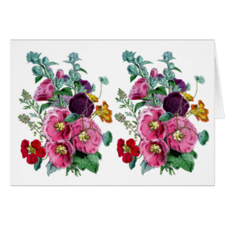 ヴィンテージのHollyhockの開花 カード