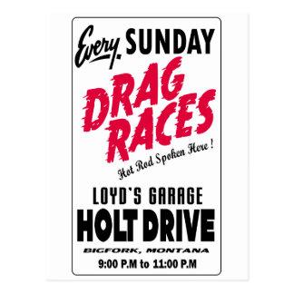 ヴィンテージのHoltドライブドラッグ競争の印 ポストカード