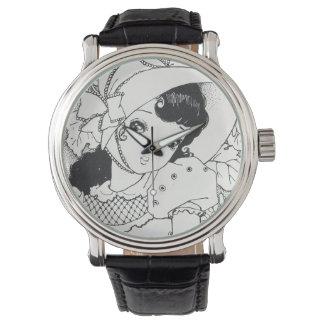 ヴィンテージのjapanesesのマンガのかわいいの女の子インク入れ墨 腕時計