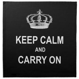 ヴィンテージのKeep Calm and Carry Onの引用文wの王冠 ナプキンクロス