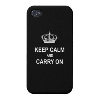 ヴィンテージのKeep Calm and Carry Onの引用文wの王冠 iPhone 4 Case