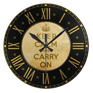 ヴィンテージのKeep Calm and Carry Onの柱時計 ラージ壁時計